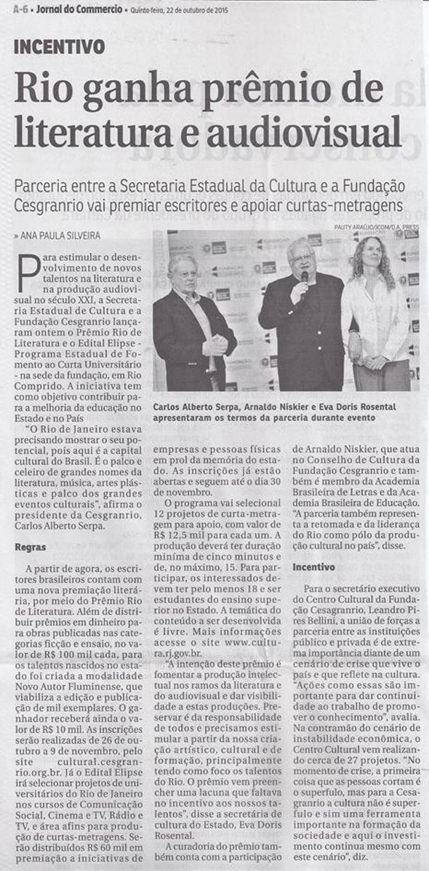 Rio - literatura - audiovisual - Cesgranrio - Secretaria de Estado de Cultura RJ