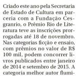 Prêmio Rio de Literatura - inscrições até 18-11-2015