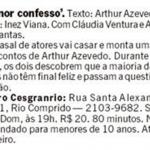 Reprodução do Jornal O Globo - Espetáculo Amor Confesso