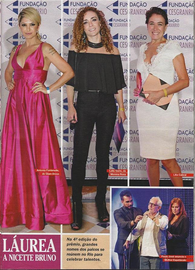 Reprodução da Revista Caras contando como foi o prêmio Cesgranrio de Teatro - Antonia Fontenelle, Laila Garin, Lilia Cabral e Paulo José