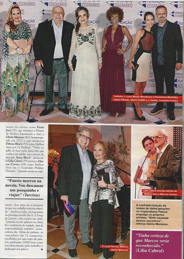 Reprodução da Revista Caras contando como foi o Prêmio Cesgranrio de Teatro - Gottsha, Mauro Mendonça, Rosamaria Murtinho, Isabel FIllardisTarcídio Meira, Gloria Menezes, Marcos Caruso, Lilia Cabral