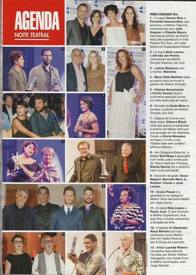 Reprodução da Revista Caras contando como foi o Prêmio Cesgranrio de Teatro