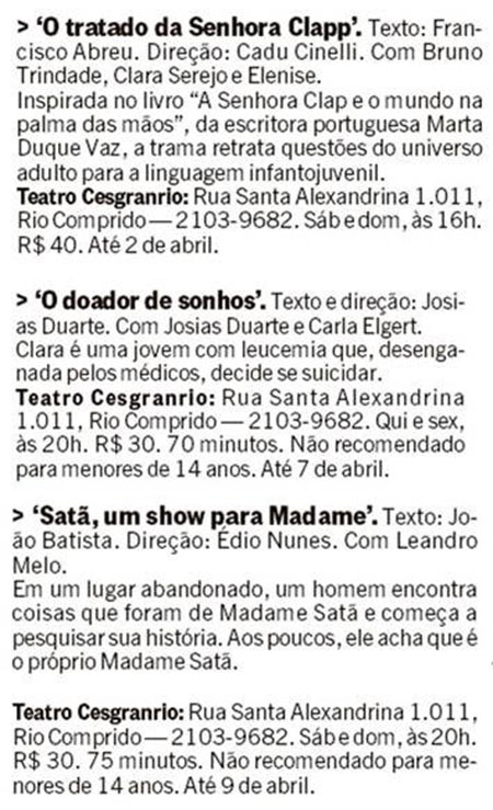 Teatro Cesgranrio no Jornal O Globo