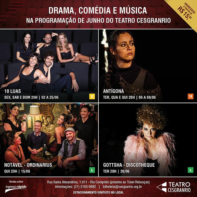 Teatro Cesgranrio - Programação de Junho