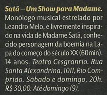 Satã, Um Show para Madame - O Musical - Teatro Cesgranrio