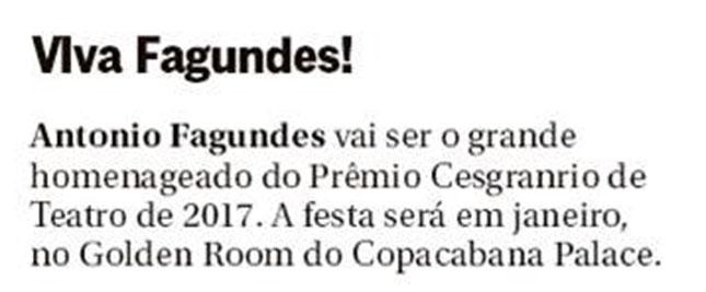 Jornal O Globo - Prêmio Cesgranrio de Teatro - Antonio Fagundes