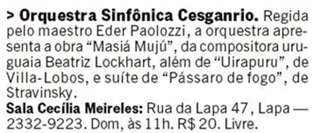 Jornal O Globo - Orquestra Sinfônica Cesgranrio