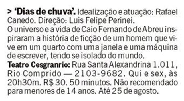 Jornal O Globo - Dias de Chuva - Teatro Cesgranrio