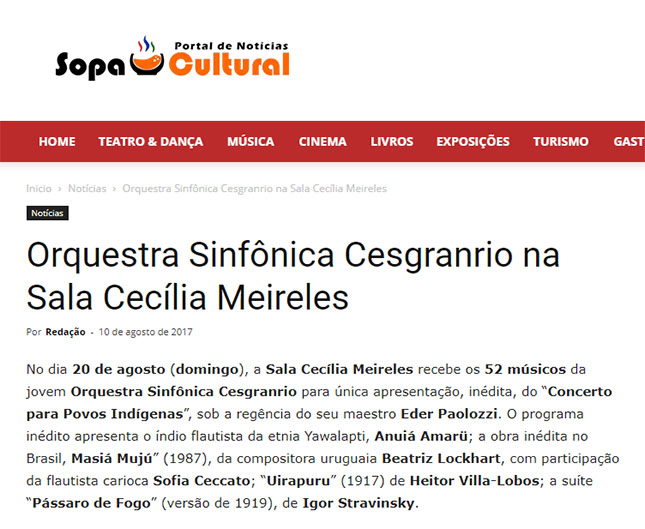 Site Sopa Cultural - Orquestra Sinfônica Cesgranrio