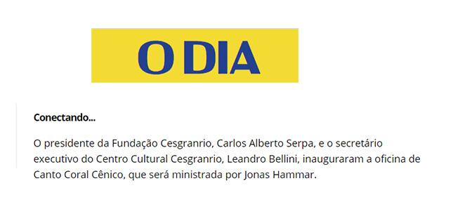 Jornal O Dia - lili Rodriguez - Oficina de Canto Coral Cênico Cesgranrio