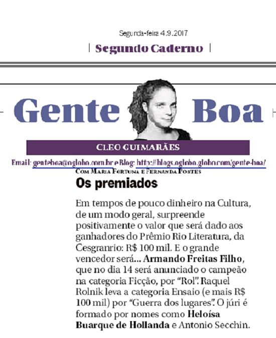 Jornal O Globo - Prêmio Rio de Literatura - 2 Edição