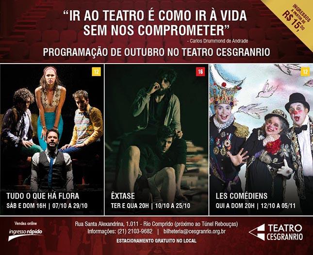 Teatro Cesgranrio - Espetáculos de outubro de 2017 - Walcyr Carrasco