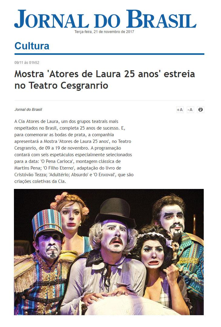 Mostra 'Atores de Laura 25 anos' estreia no Teatro Cesgranrio