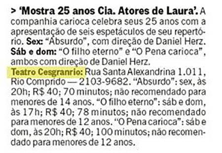 Mostra 25 anos Cia. Atores de Laura (Rio Show)