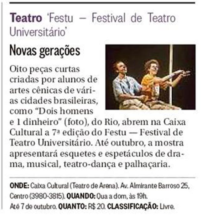 Teatro – FESTU – Festival de Teatro Universitário