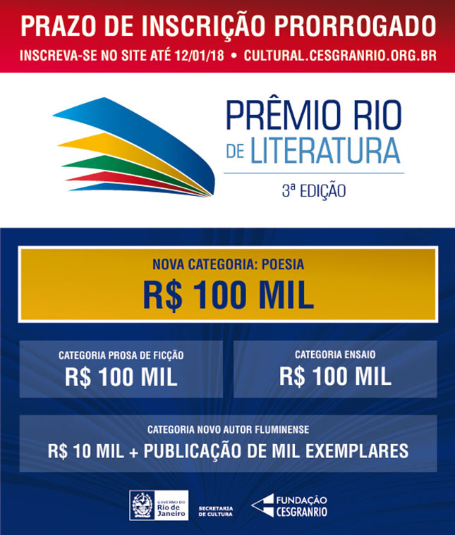 3º Prêmio Rio de Literatura prorroga inscrições até 12/01/18