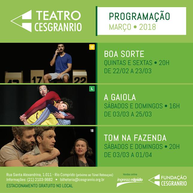 Teatro Cesgranrio - Programação Março 2018