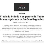 5° edição Prêmio Cesgranrio de Teatro homenageia o ator Antônio Fagundes
