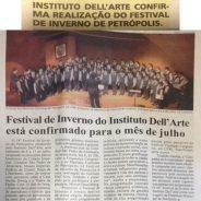 Instituto Dell'Arte confirma realização do Festival de inverno de Petrópolis