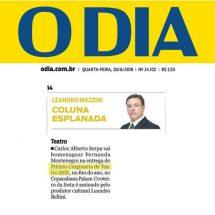 Jornal O Dia – Coluna Esplanada (20/06/2018)