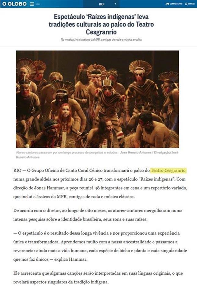 Oficina de Canto Coral Cênico Cesgranrio - Raízes indígenas