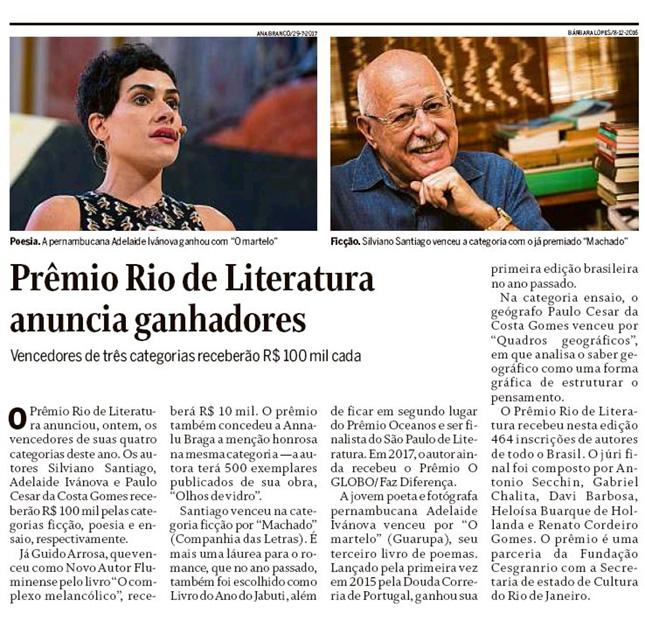 3º Prêmio Rio de Literatura - Vencedores - Cesgranrio