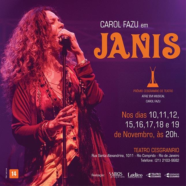 Carol Fazu interpreta Janis Joplin no Teatro Cesgranrio